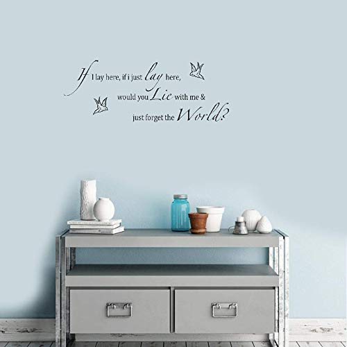 Teadyi Wall Stickers Art DIY Removable Mural Room Decor Mural Vinyl If I Lay Here If I Just Lay Here Doves Lyrics Living Room Bedroom ()