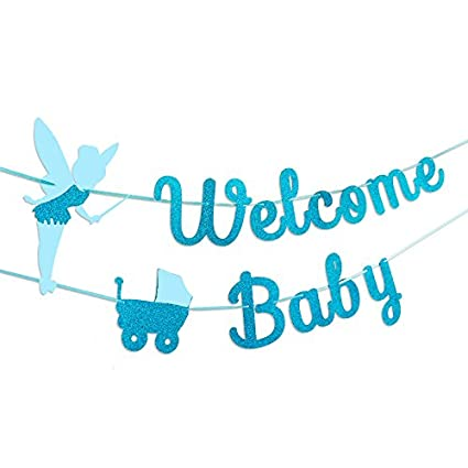 a8e90de20319 Amazon.com  TMYSP Baby Shower Bunting garland Glitter Blue infant ...