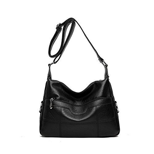 SDINAZ Bolso de hombro suave suave de cuero de la PU Casual multifuncional pequeño Crossbody Messenger bag Monederos Negro