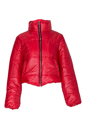 Zip Front Cropped Jacket - Noroze Womens Crop Jacket Padded Puffer Coat Cropped (Red, 4)