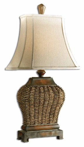 Luxe Designer WOVEN Basketweave Table Lamp Woven Basketweave