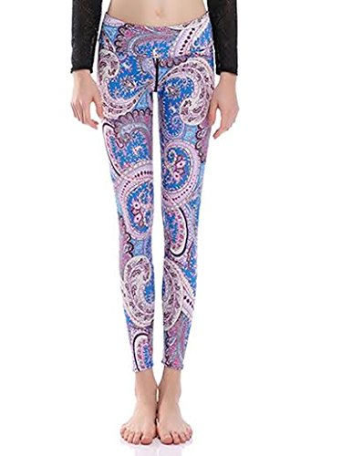 Women's Yoga Pants by Military Hippie | Printed Gym Leggings and Capris (M, Blue Pink Paisley)