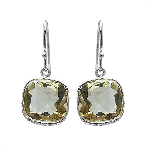 Sterling Silver Green Amethyst Women's Dangle Earrings (10.00 cttw, 11MM Cushion Checkerboard)