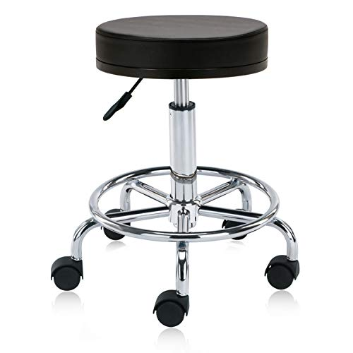 - DR.LOMILOMI Swivel Rolling Hydraulic Height Adjustable Stool Chair 504 with Foot Rest for Clinic Spas Beauty Salons Dentists Home Office (Black)