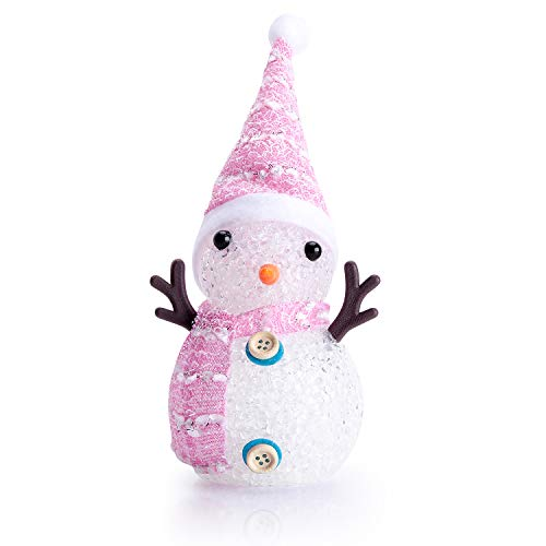 Led Christmas Night Lights Cute Crystal Snowman Light for Girls Boys Indoor Outdoor, Battery Operated Flash Rainbow Color, Pink Scarf Hat - Pink Snowman