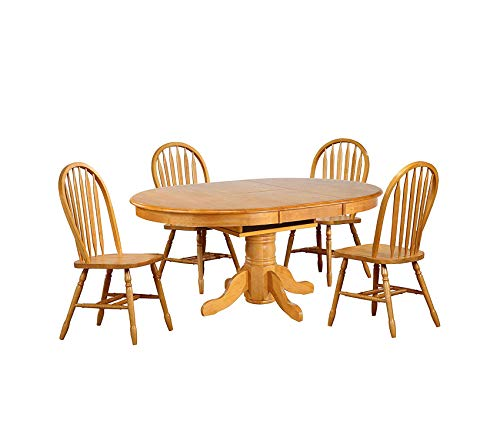 Wood & Style Oak Selections Dining Table Set Light Finish Decor Comfy Living Furniture Deluxe Premium Collection ()