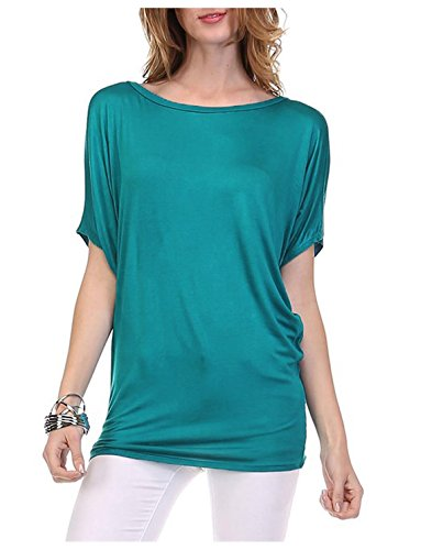 G2 Chic Women's Solid Boatneck Rayon Top with Loose Short Sleeves(TOP-SHT,LBL-S) (Solid Boatneck)