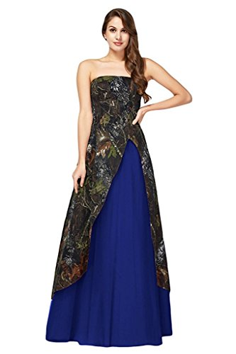 YanLian Inexpensive Strapless Long Camo Prom Party Dress Military Ball Gown Royal Blue US8