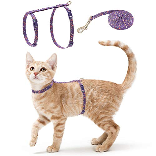 PUPTECK Cat Harness Leash Set - Adjustable Soft Webbing Chest Strap Harness with Quick Release Buckle and Fashion Design for Dogs Cats Small Pets