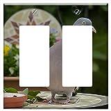 Switch Plate Double Rocker/GFCI - Dove Ringdove Bird Columba Palumbus Foraging 1