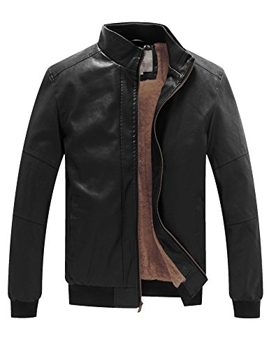 WenVen Men's Winter Fashion Faux Leather Jackets