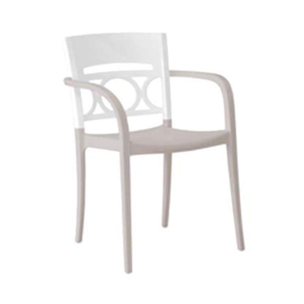 Grosfillex US556096 Moon Stacking Armchair, Glacier White/Linen (Case of 4)