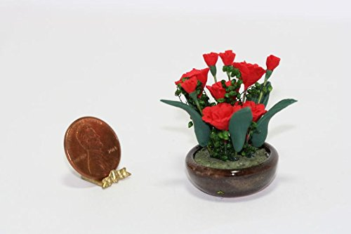 Bright Delights Dollhouse Miniature Carnation Bouquet in Bowl Planter (Carnation Bouquet Miniature)