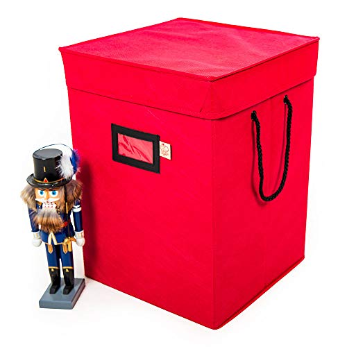 [Nutcracker and Figurine Collectibles Storage Boxes] - Large Ornament Bag for Holiday Decor Storage - Great for Storing 16 Inch Tall Carolers, Santa Figure, or Nut Cracker Ornaments (RED/17-inch)
