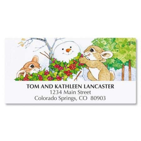 (Winter Bunnies Personalized Holiday Return Address Labels- Set of 48, Large Self-Adhesive, Flat-Sheet Christmas Labels)