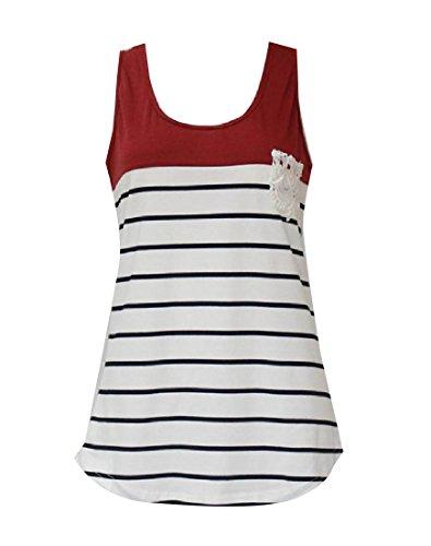 世論調査ベールキャッシュAngelSpace 女性ノースリーブの夏のヒットカラーストライプタンクトップシャツ