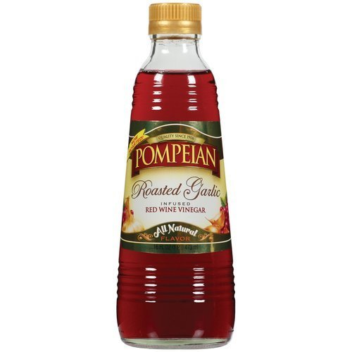 Pompeian Vinegar 16oz Bottle (Pack of 3) Select Flavor Below (Roasted Garlic Infused Red (Garlic Wine)
