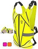 Reflective Running Vest | Reflective Gear for Running, Cycling, Jogging, Walking, Motorcycle | Adjustable Safety Vest | Front Zipper | Back Pocket | Bonus Set of 2 Adjustable Bands, for Men and Women