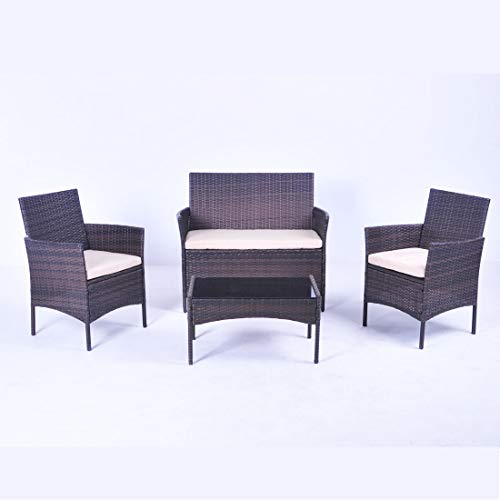 United Flame Sofa sets 4 Pieces Outdoor Patio Furniture Sets Rattan Chair Wicker Set Backyard Porch Garden Balcony Furniture Sofa Set with Beige Cushions and Glass Table All Weather RTA Furniture Sets