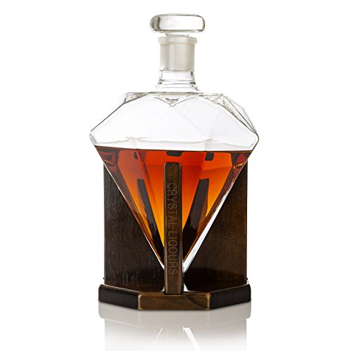Crystal Liqours 1000ml Diamond Liquor Decanter for Whiskey, Scotch, Bourbon, Rum, Vodka, Wine or Tequila- Hand Blown Lead Free Glass With Custom Wood Stand & Airtight Stopper by Crystal Liqours