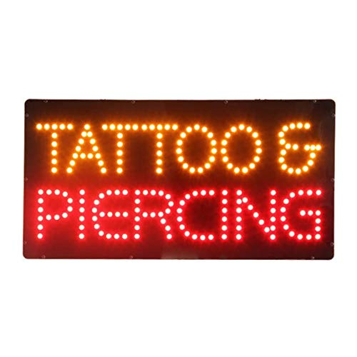 LED Tattoo Piercing Open Sign Super Bright Flashing Animated Light Sign for Body Jewelry Art Business Shop Store Window Decor (27 x 15 inches)
