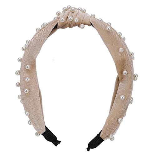 Top-knot Embellished Headband (Velvet Beige)