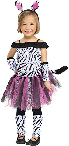 Fun World Costumes Baby Girl's Zebra Toddler Costume, Black/White, (Zebra Costumes For Toddlers)