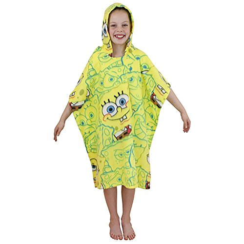 SpongeBob SquarePants Childrens Heads Fleece Poncho (28in x 63in) (Yellow)]()