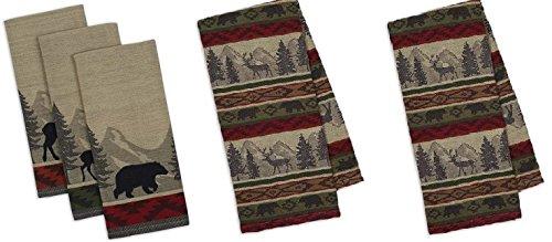 Design Imports 5-Piece Woodsy Jacquard Dishtowel Bundle, 3 B