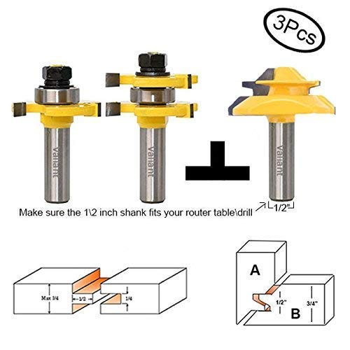 Valiant Tongue and Groove Router Bit Tool Set ½'' Shank With 45° Lock Miter Bit ½'' Shank - Solid Steel, Anti Kickback Design, Easy Operation - For Doors, Tables, Shelves, Walls, DIY Woodwork & More by Valiant (Image #8)
