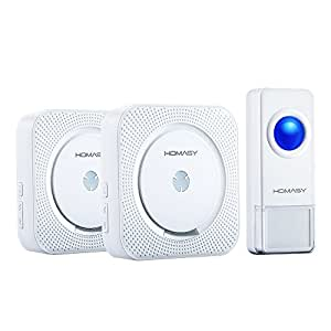 Homasy Wireless Doorbell with 1 Push Button Waterproof Transmitter and 2 Plugin Receivers Operating at over 1000-feet Range with Over 50 Chimes, No Batteries Required for Receivers, White