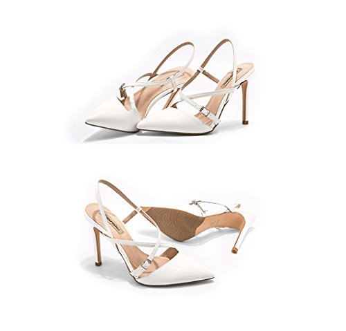 Pointed High Heels Elegant Sandals Sexy Ankle Shoes Leather Shoes (Color : White, Size : 37)