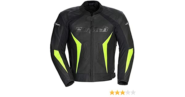Black//Hi-Viz Yellow, Medium 8992-0213-05 Cortech Latigo 2.0 Mens Leather Motorcycle Jacket