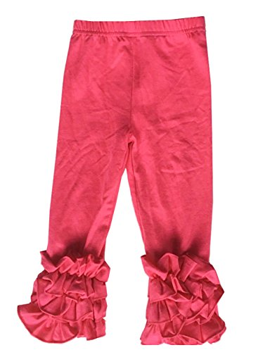 Little Girls Ruffle Pants Icing Solid Cotton Pant, Hot Pink, XL ()