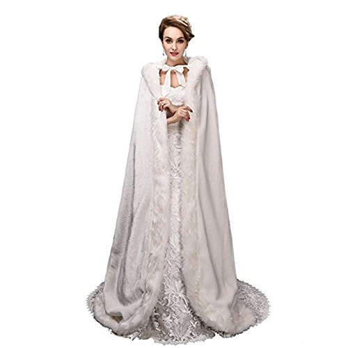 Noriviiq Winter Womens Foor Length Ivory Faux Fur Wedding Cloak With Hood For Bridal Wraps Cape by Noriviiq
