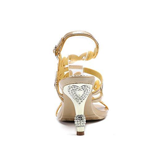 Tacco Donna Di Medio Nuziale Diamante Anno Festa Fine Ballo Nozze Gold Sera Nvxie Sandali gEqnqd