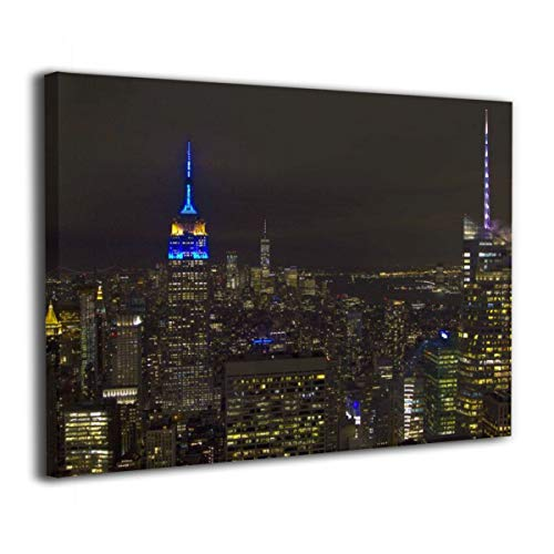 CENSIHER 16x20 Inch Empire State Building in EU Colours Canvas Print Wood Framed Wall Art Painting for Home Decor Picture Giclee Artwork Decorations Ready to Hang ()