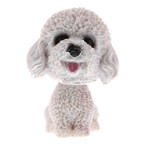 DYNWAVE Bobbing Head Dog Bobblehead Puppy Figurines Bichon Frise (Poodle ), Home/ Car Dashboards Decoration Ornaments - Teddy White