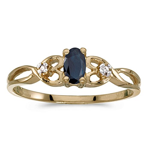 0.25 Carat (ctw) 14k Yellow Gold Oval Blue Sapphire and Diamond Infinity Twisting Heart Shaped Promise Fashion Ring (5 x 3 MM) - Size 9