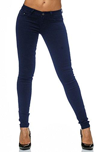 D2182 Jeans Fit Skinny stretch donna pantaloni 2 Blu xwZOqUX