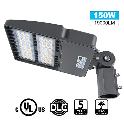 LED Parking Lot Lights 150W, 19000LM LED Shoebox Pole Lights Fixture (400W HID/HPS Replacement) 5700K, IP65, AC 100-277V, DLC UL Listed, Outdoor Area Street Security Lighting for Stadium, Roadways