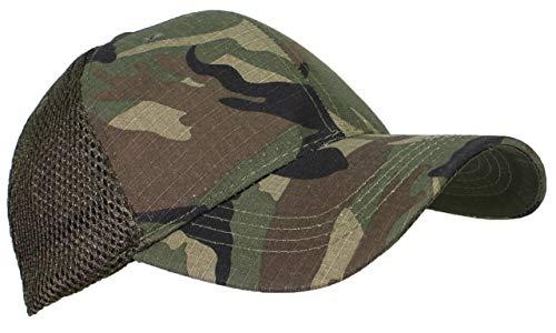 Tropic Caps Adult Cotton Ripstop Camouflage Soft Mesh Adjustable Trucker Cap - Woodland Camo Baseball Caps Woodland Camouflage Cap