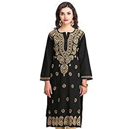 Ada Hand Embroidered Lucknow Chikan Womens Cotton Kurta Kurti A207632 Black