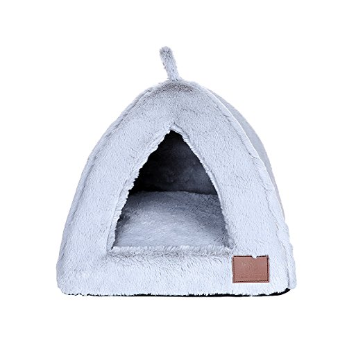 Miss Meow Cat Dog Pet Bed Tent Self-Warming Triangle Removable Cushion Cover Two Way Conversion Medium Light Gray 15″x15″x15″