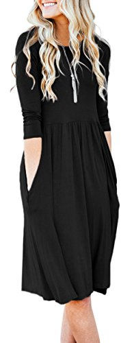 NENONA Womens Long Sleeve Pocket Empire Waist Pleated Loose Swing Casual Flare Midi Dress (Black-XXL)