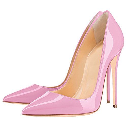 Lovirs Womens Pointed Toe High Heel Stiletto Solid Color Stiletto Pumps Wedding Party Shoes Pink iwsii