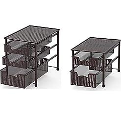 Kitchen SimpleHouseware Stackable 2 Tier Sliding Basket + 3 Tier Sliding Basket Bronze pull-out organizers