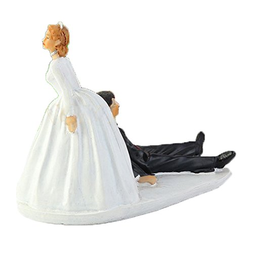 SCHOLMART Funny Bride and Groom Decorative Wedding Cake Toppers - Cake Topper Figurines, Keepsake Decorations in Unique Pose (Reluctant Groom) -
