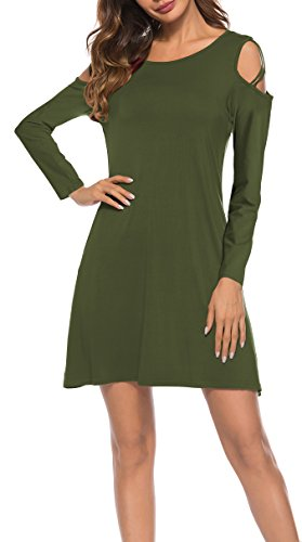 Dress Pockets olive with Shirt Swing Strappy Oyanus T Loose Cold Summer Womens A1 Shoulder Dresses wnqf1F