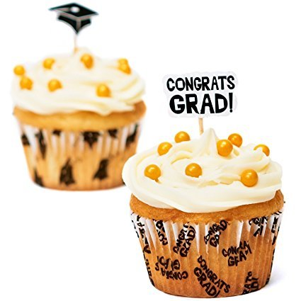 Fun Express Congrats Graduation Cupcake Liners and Picks - 200 Pack